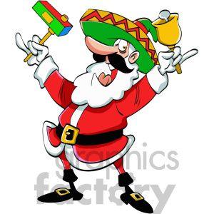 mexican santa claus cartoon clipart. Royalty.