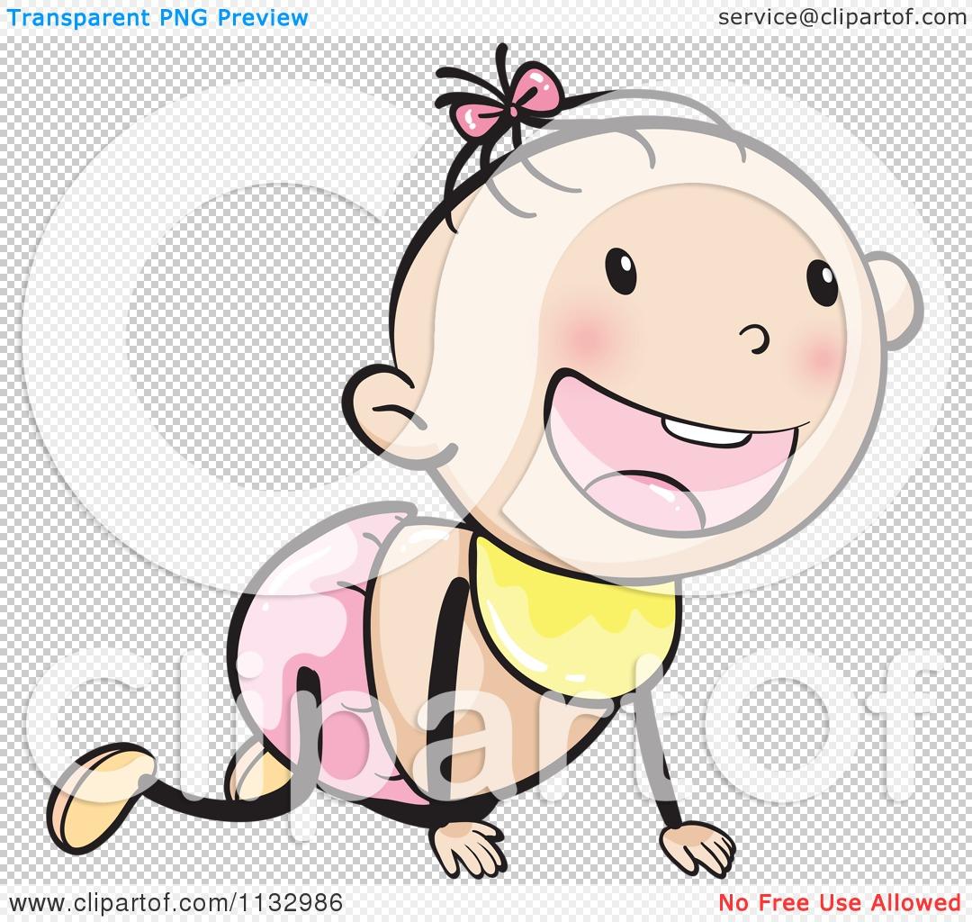 Cartoon Of A Happy Crawling Baby Girl.