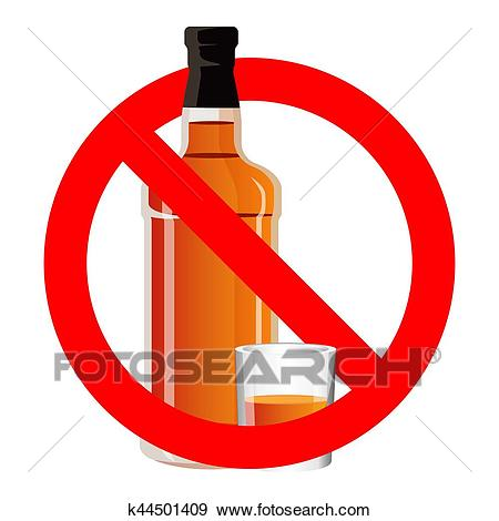 Bottle of alcohol drink and stemware in no allowed sign Clip Art.