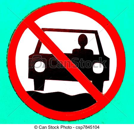 Drawing of NO MOTOR VEHICLES SIGN.