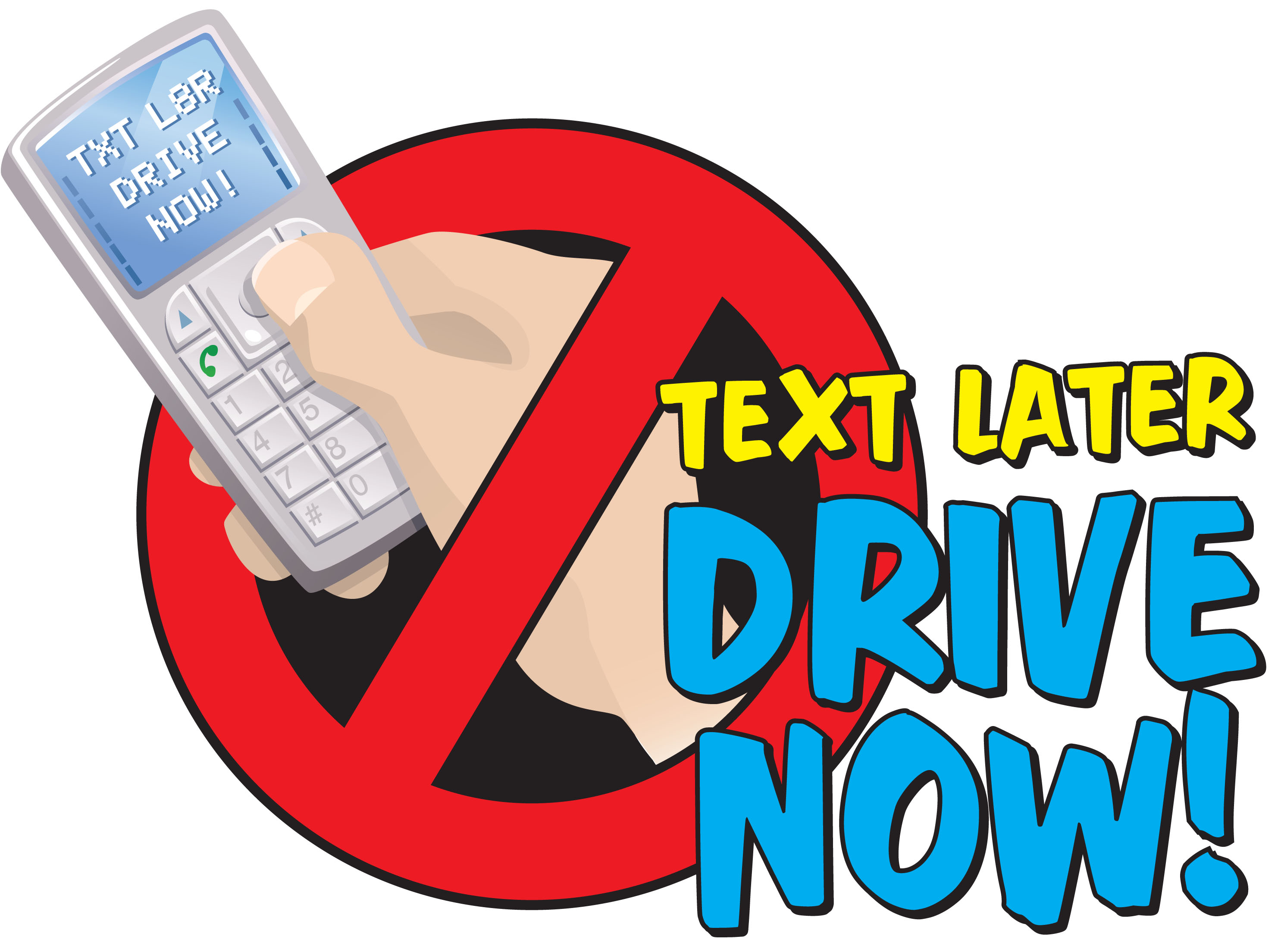 No texting while driving clipart.