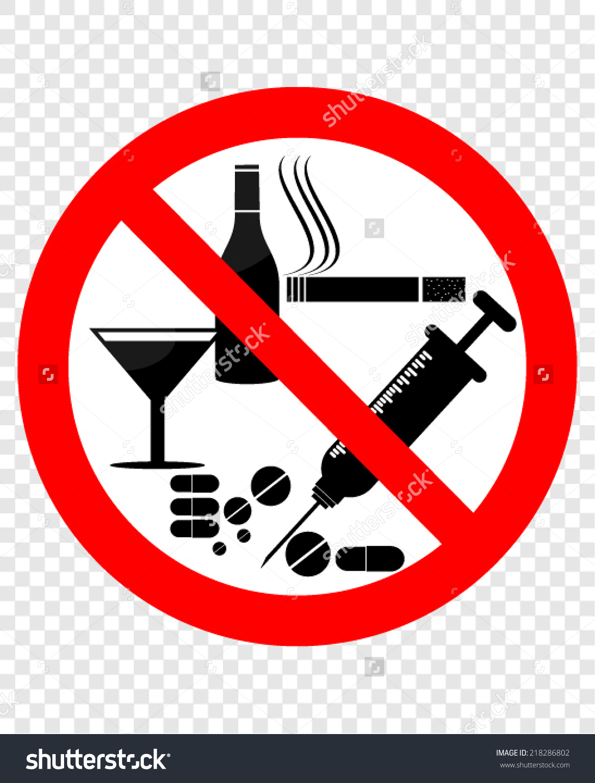 No drugs and alcohol clipart.