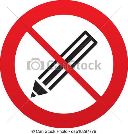 Vectors Illustration of No Pencil sign icon. Edit content button.
