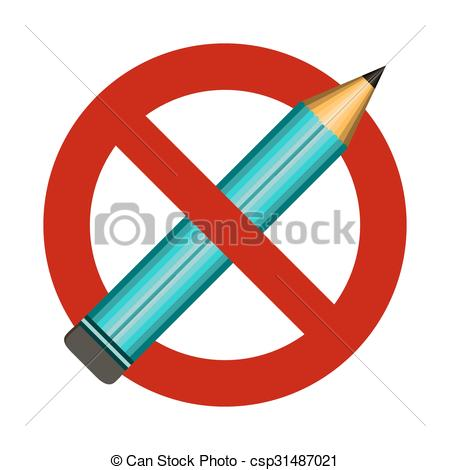 Vector Illustration of No blue Pencil sign icon. Do not write.
