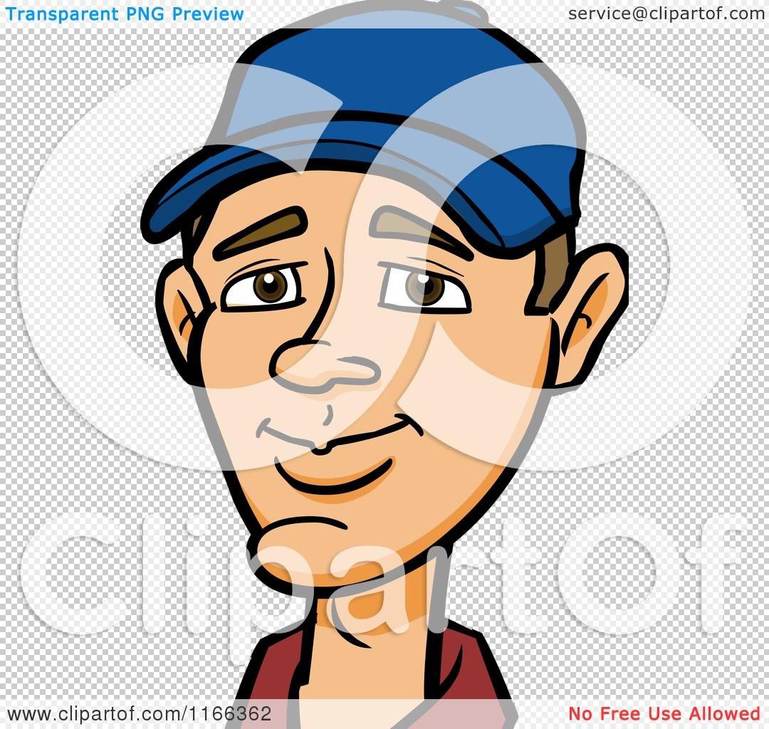 Cartoon of a Man Wearing a Baseball Cap Avatar.
