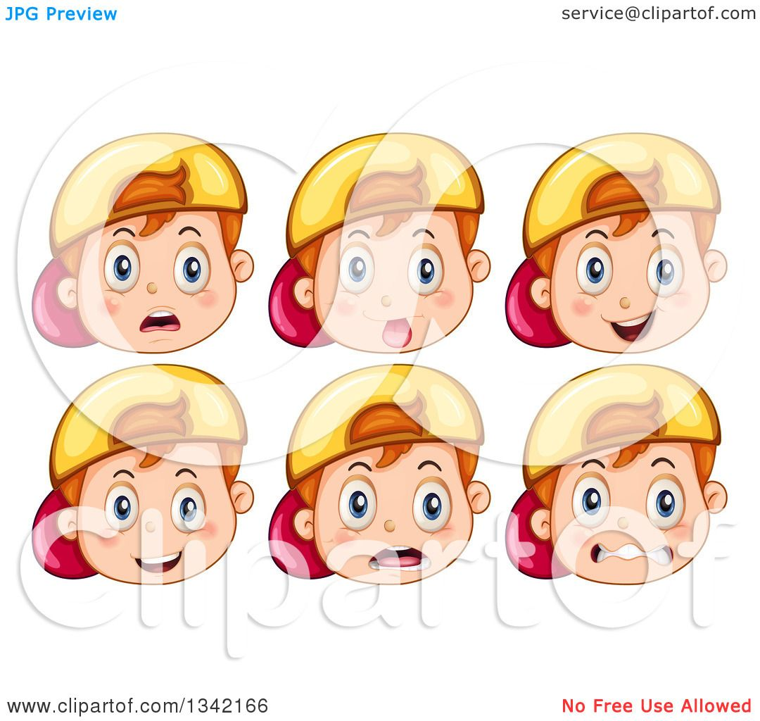 Clipart of Expressional Faces of a Red Haired White Boy Wearing a.