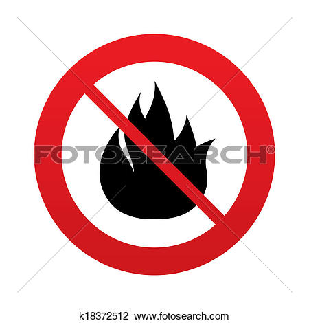 Clip Art of No Fire flame sign icon. Fire symbol. k18372512.
