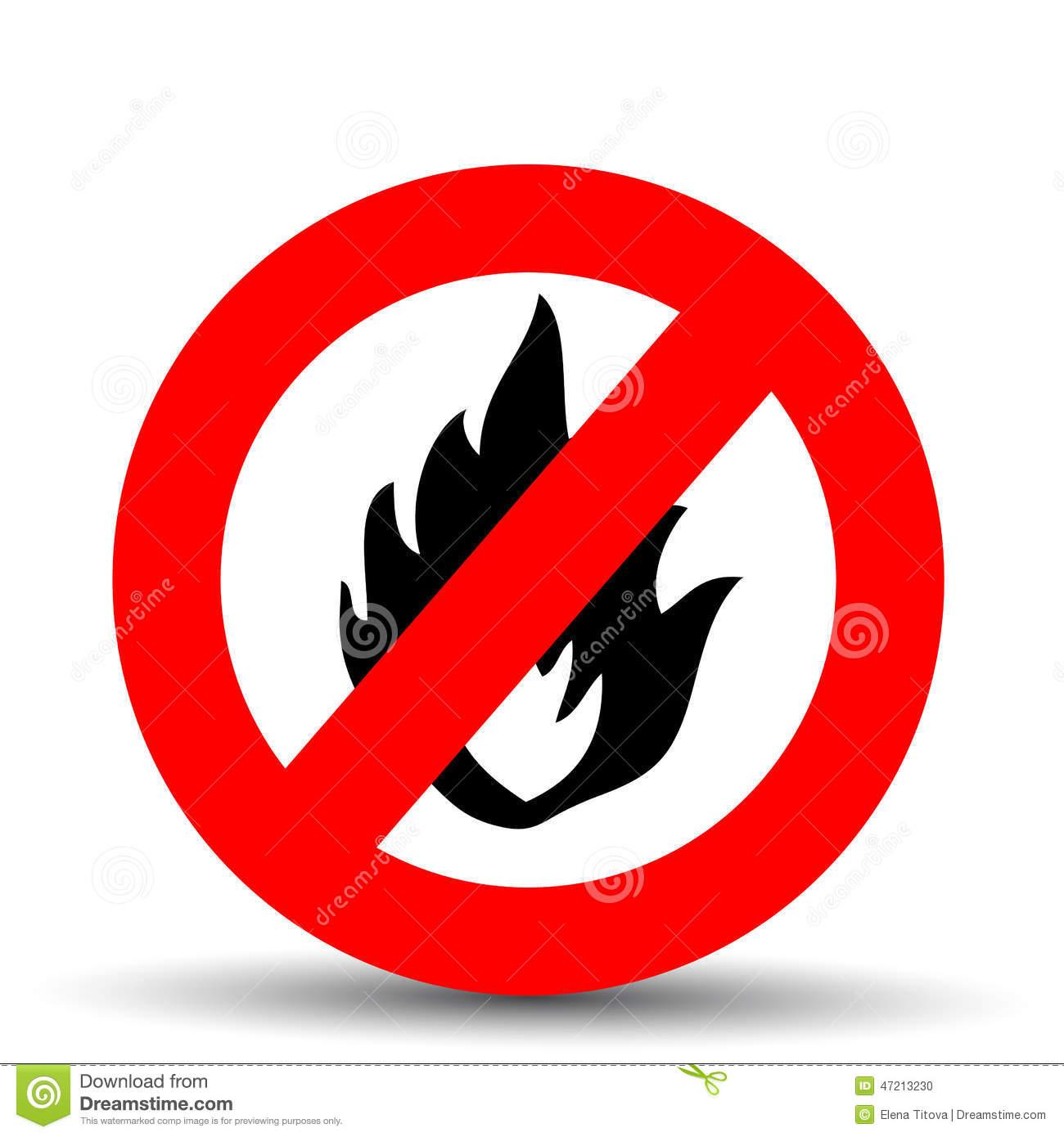 No Fire Sign Stock Vector.