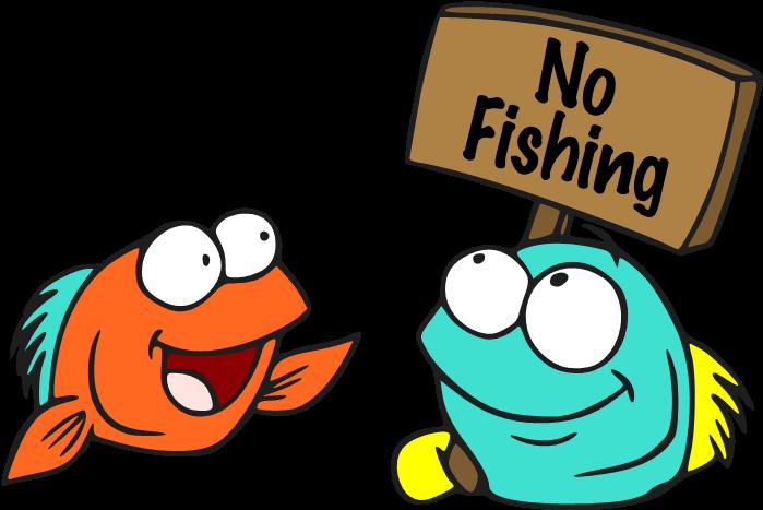 No Fishing Sign Cartoon Clipart.