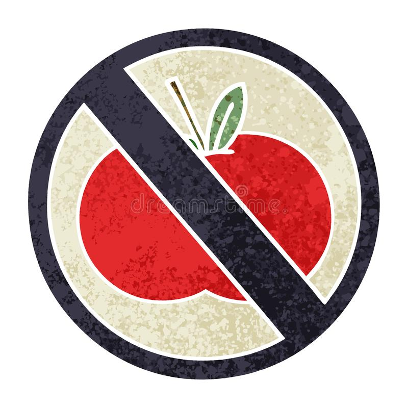 Cartoon No Food Allowed Symbol Banned Sign Cute Illustration.