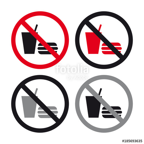No food no drinks allowed sign set\