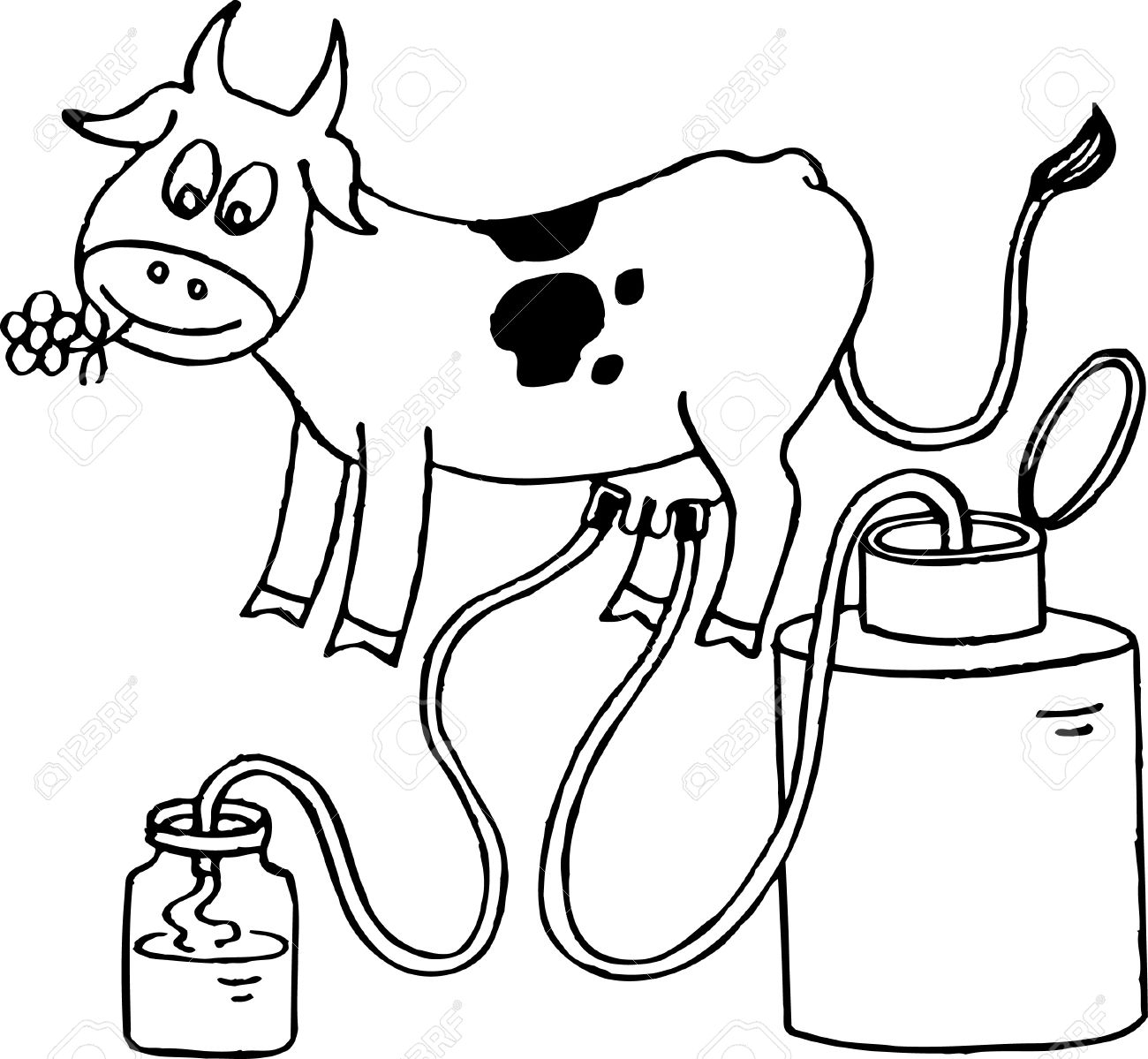 Cow Giving Milk Clipart.