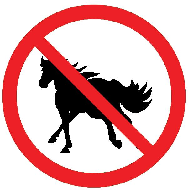 No Horses Allowed Sign.
