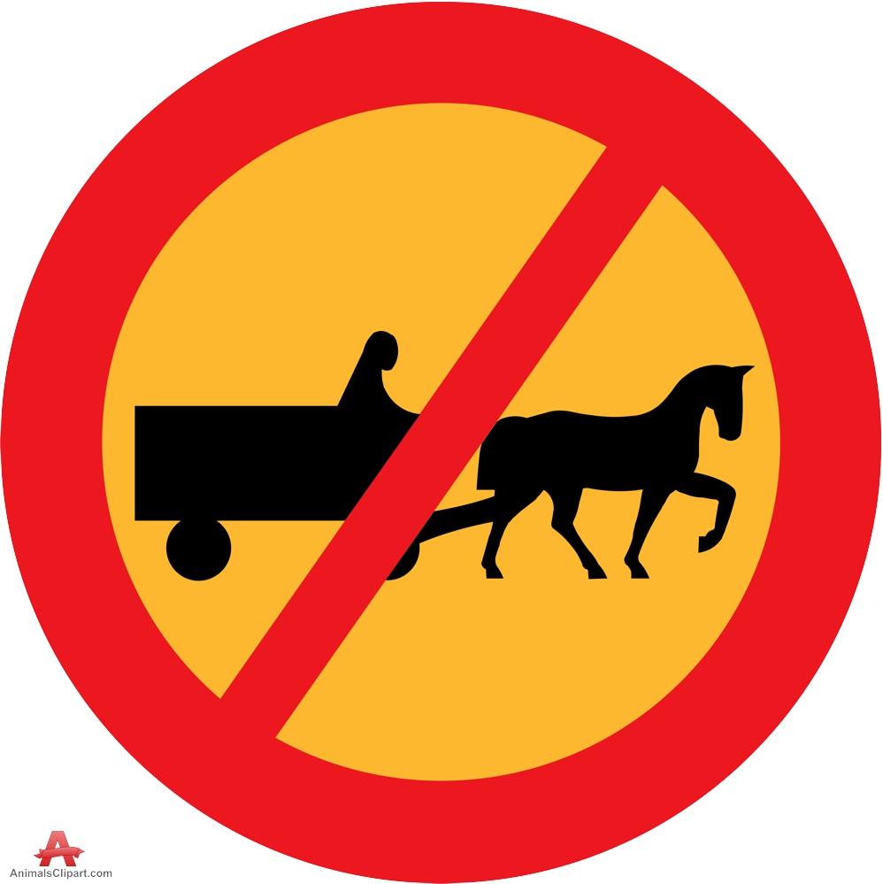 No Horse Wagon Warning Road Sign.