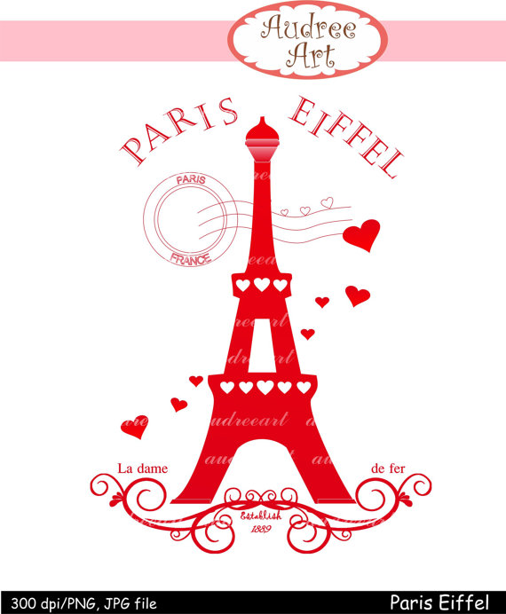 Eiffel Clip art Valentine's day instant download by audreeart.