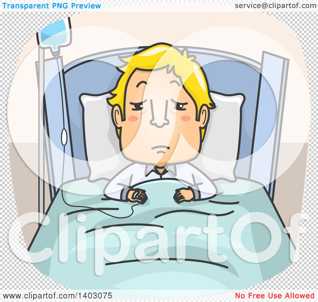 Clipart of a Cartoon Sick Blond White Man in a Hospital Bed, on Iv.