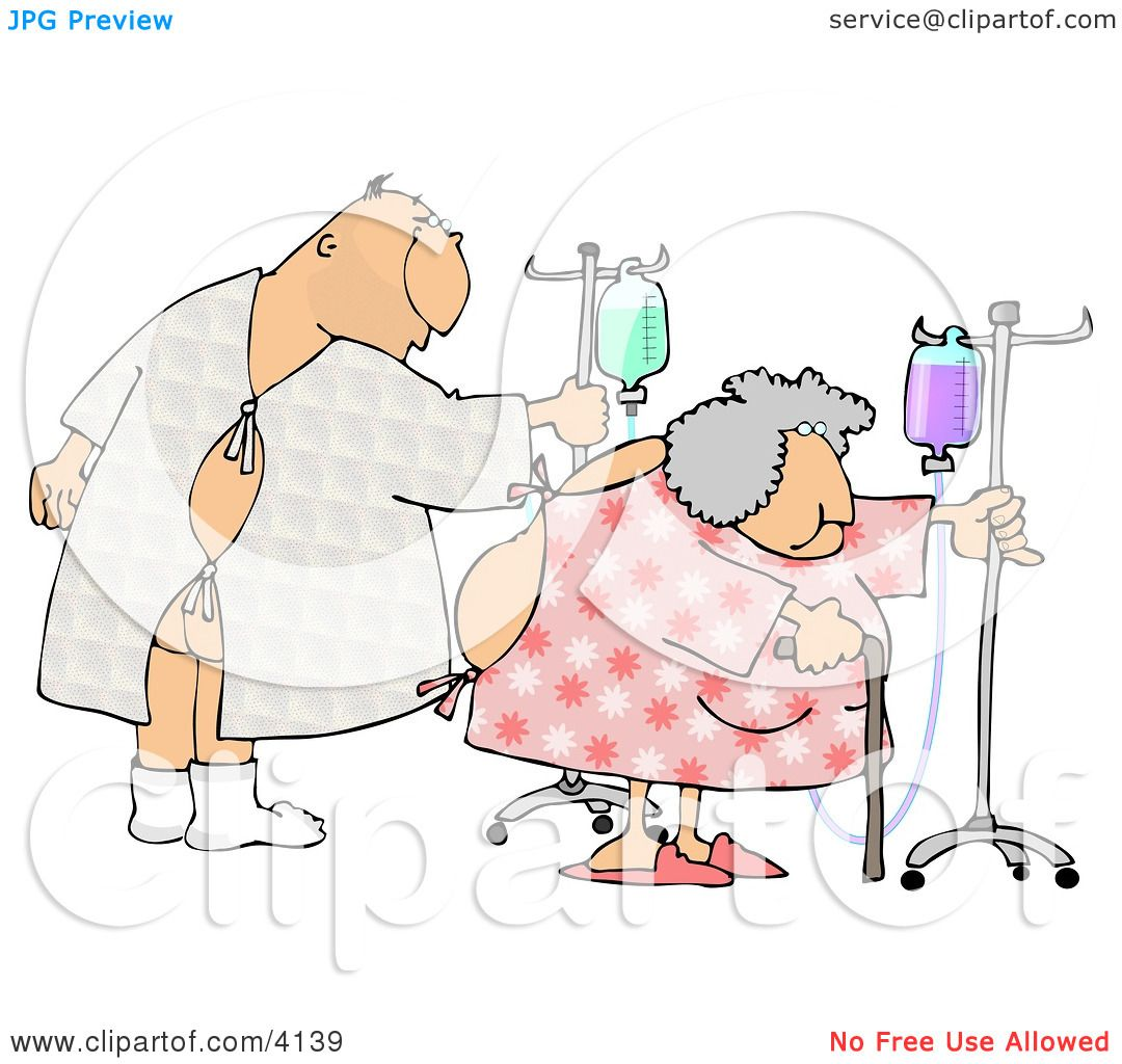 Hospitalized Man and Woman Walking with an IV Drip Clipart by.