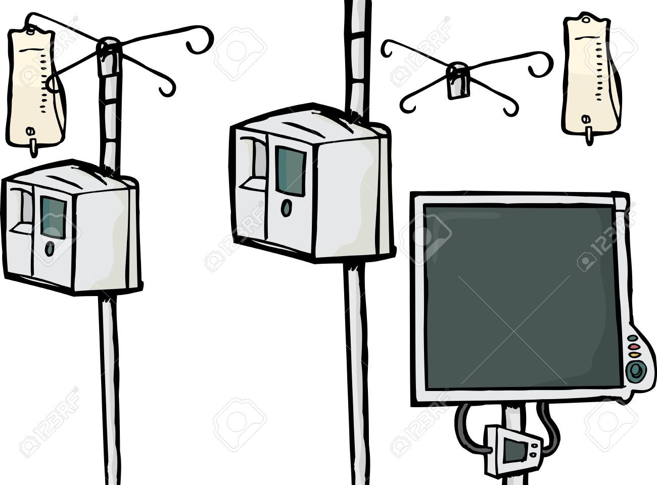 Intravenous Drip Objects And Heart Rate Monitor Over White.