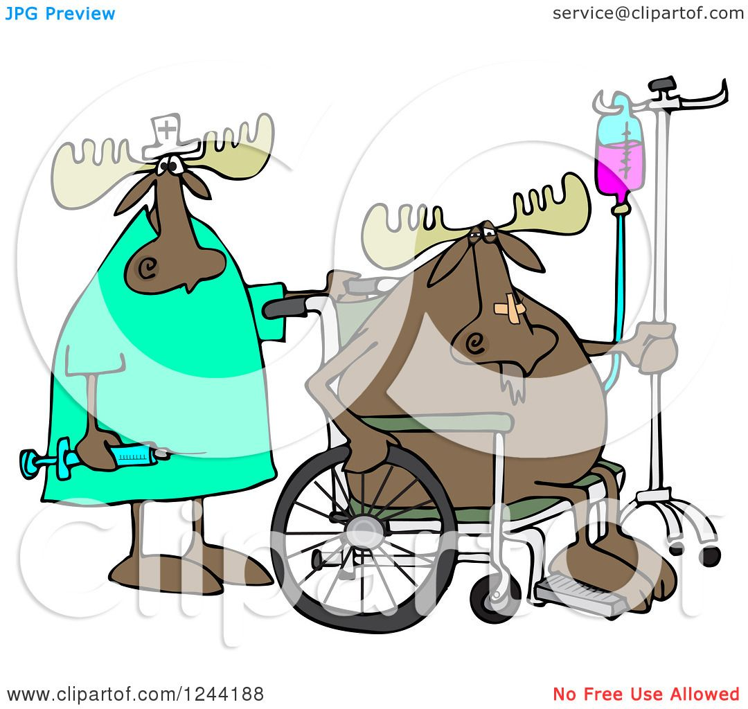 Clipart of a Nurse and Hospital Patient Moose in a Wheelchair with.