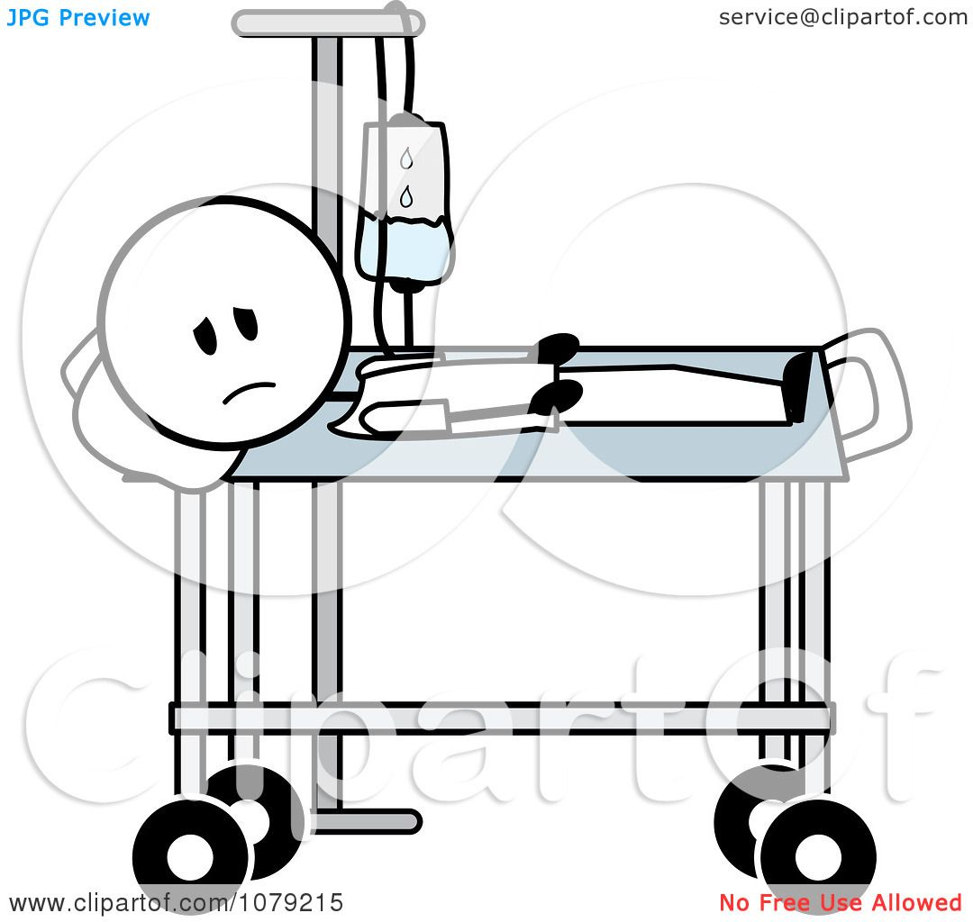 Clipart Sick Stick Man With An IV In A Hospital Bed.