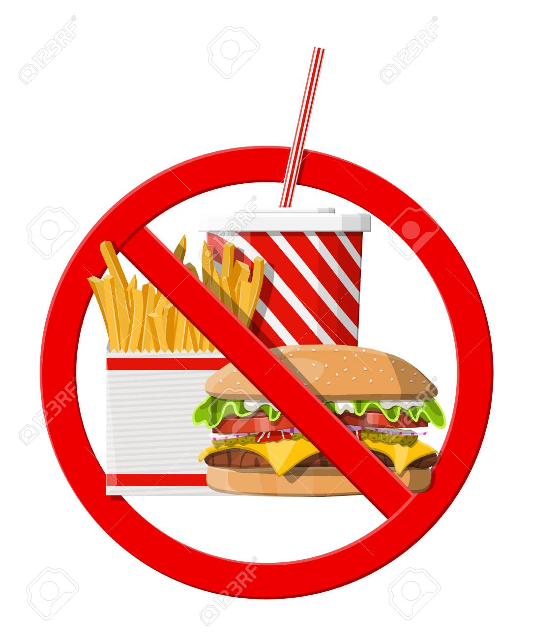 No fast food allowed. Rejecting junk food, snacks. Fat, overweight.