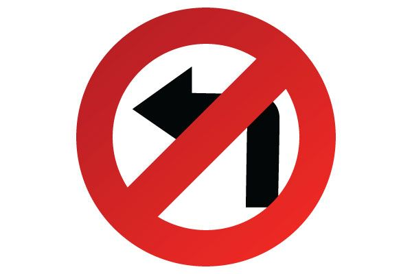 Printable No Left Turn Sign PDF Print for Road Signs Free Download.