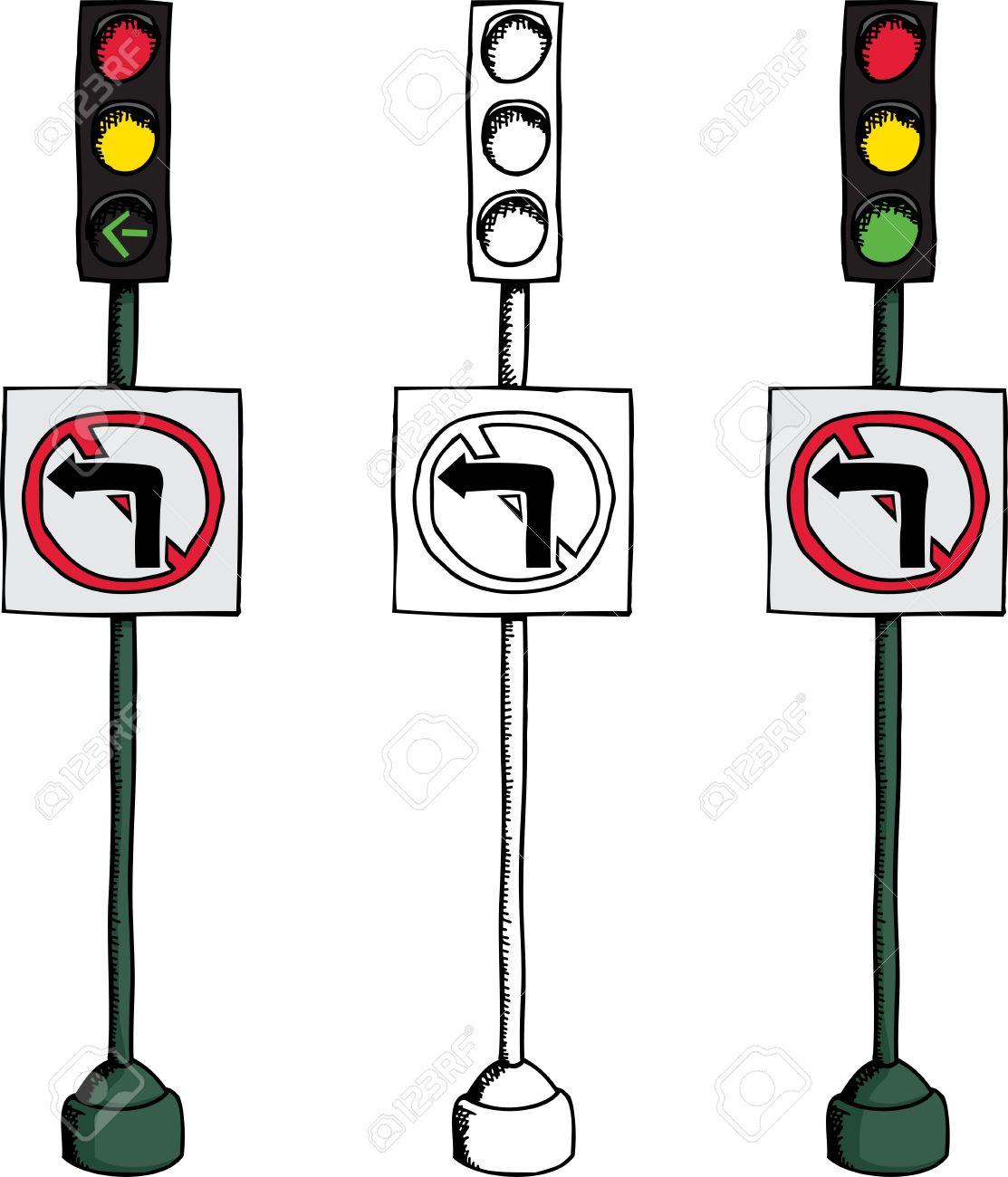 No Left Turn Traffic Light Over White Background Royalty Free.