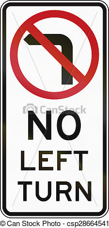 Drawing of No Left Turn In Australia.