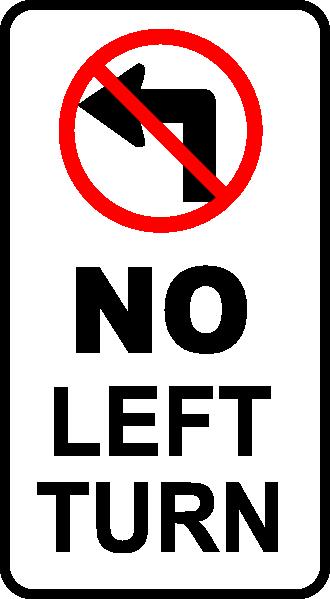No Left Turn Sign clip art Free Vector / 4Vector.