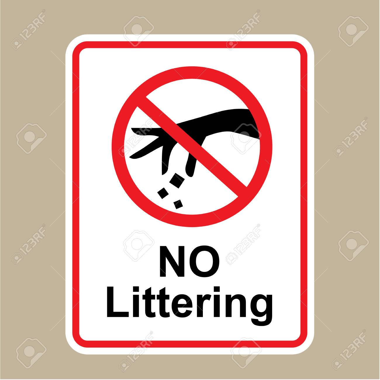 No Littering sign vector illustration clip.