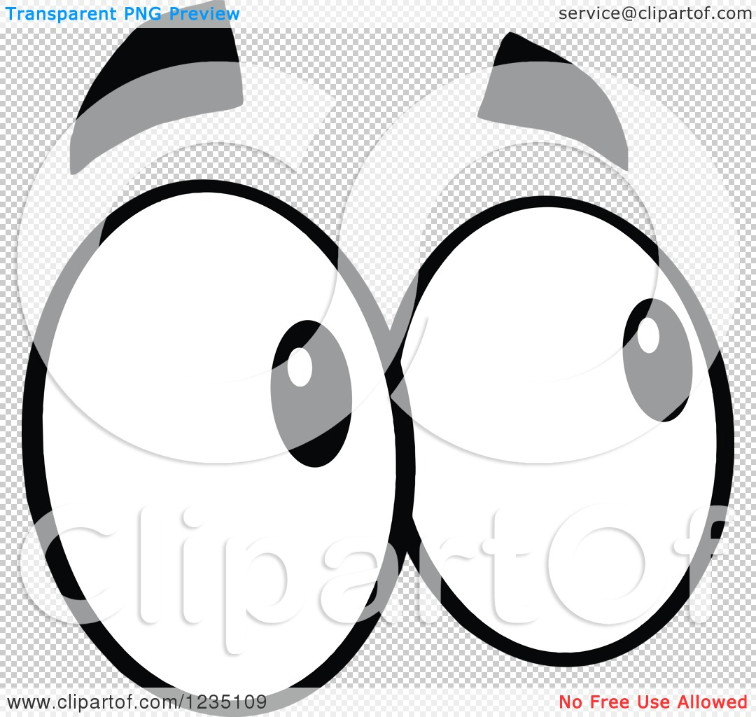 Clipart of a Pair of Looking Black and White Eyes.