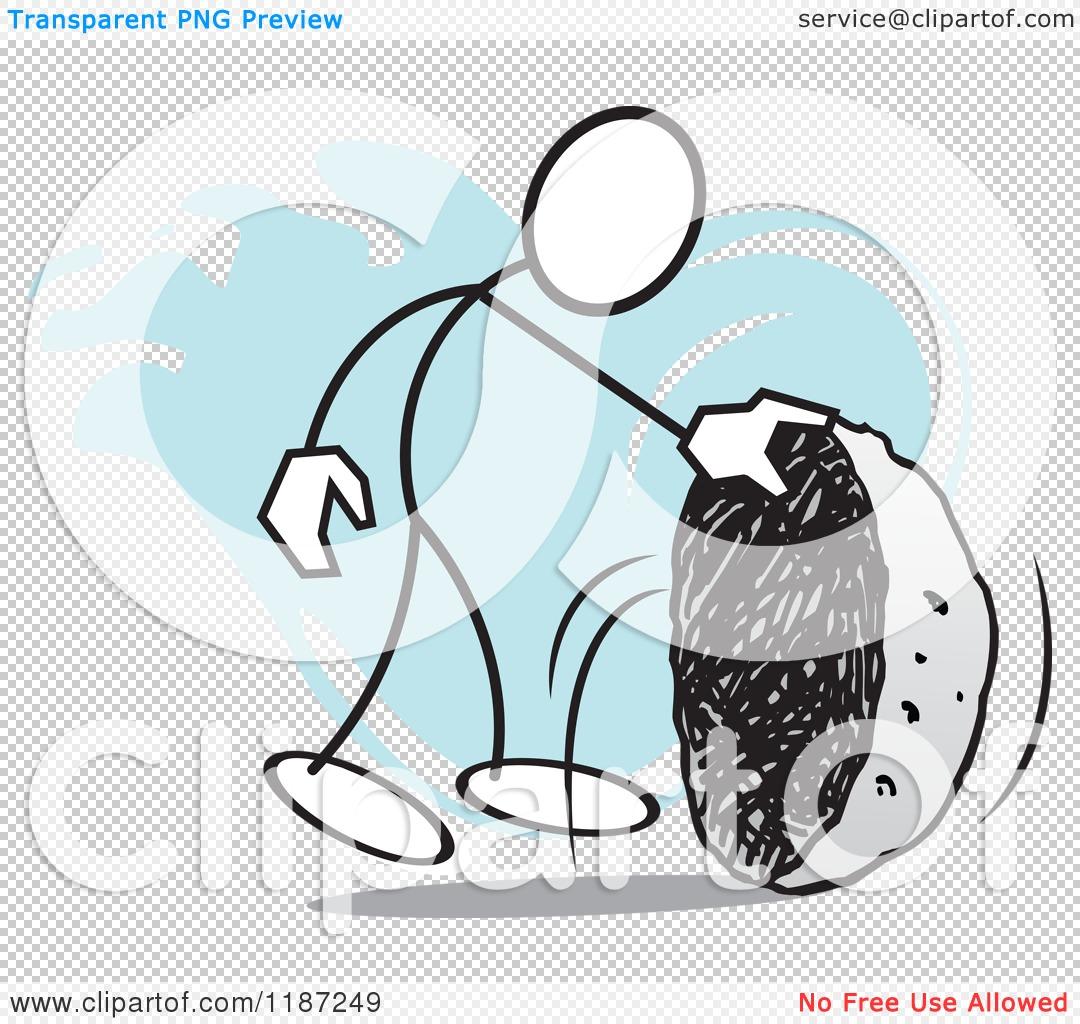 Cartoon of a Stickler Man Looking Under a Rock, No Stone Unturned.