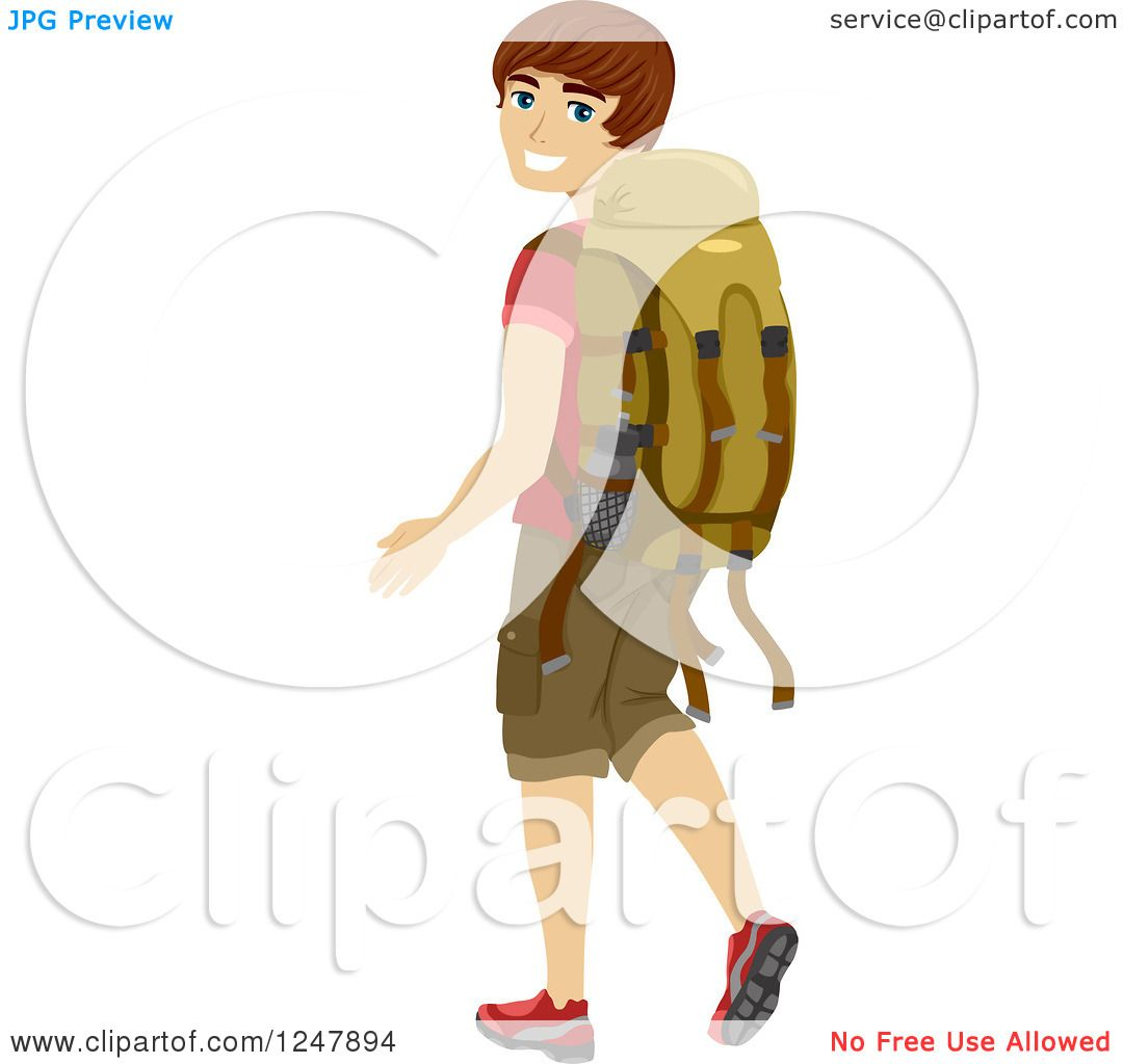 Clipart of a Young Man Looking Back and Walking with a Camping.