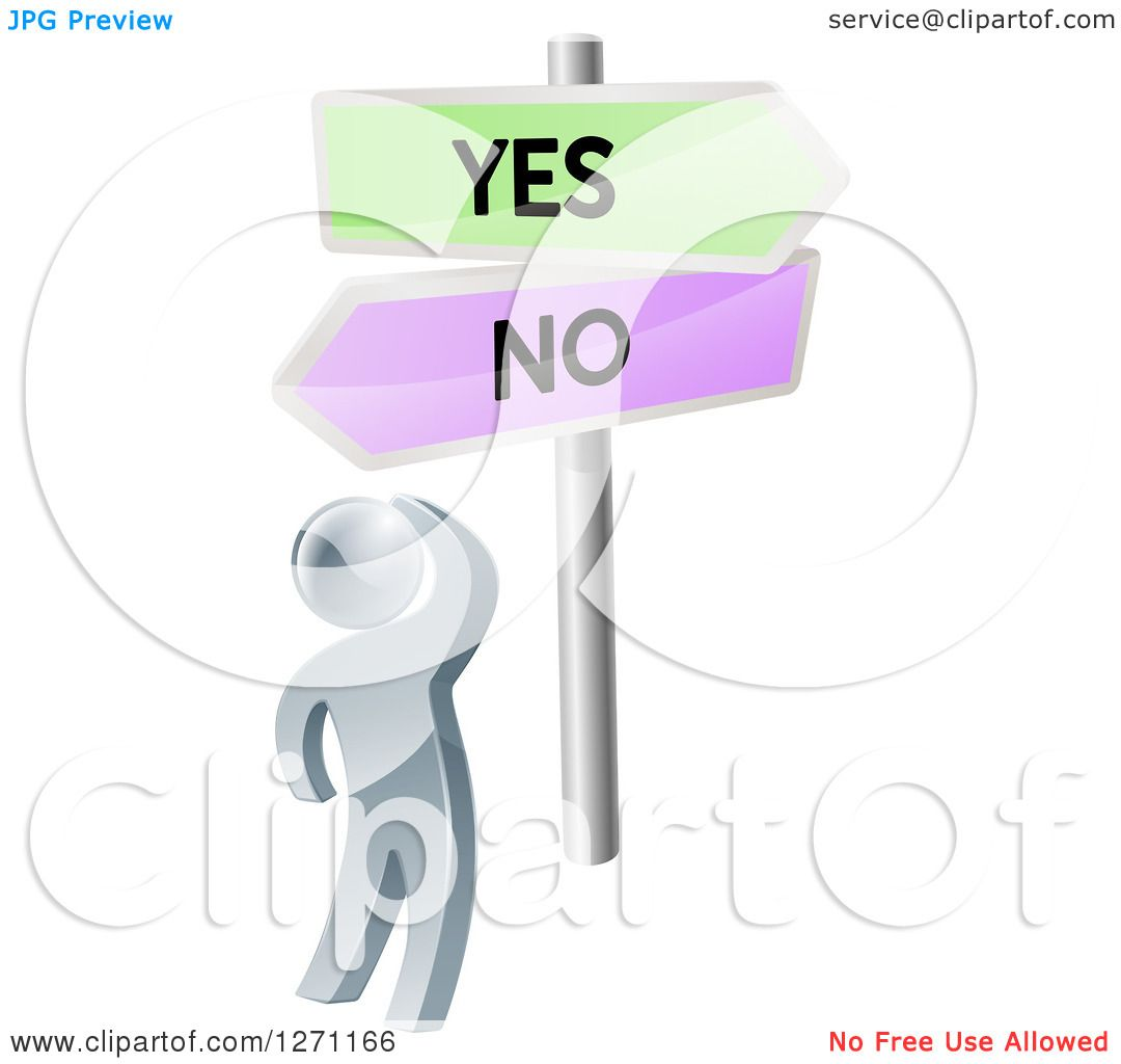 Clipart of a 3d Silver Man Looking up at Yes and No Road Signs.