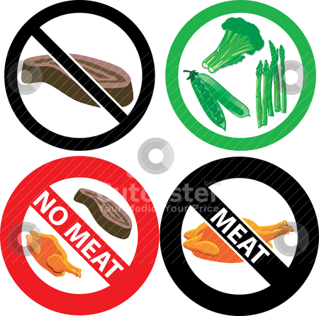 No Meat Sign stock vector.