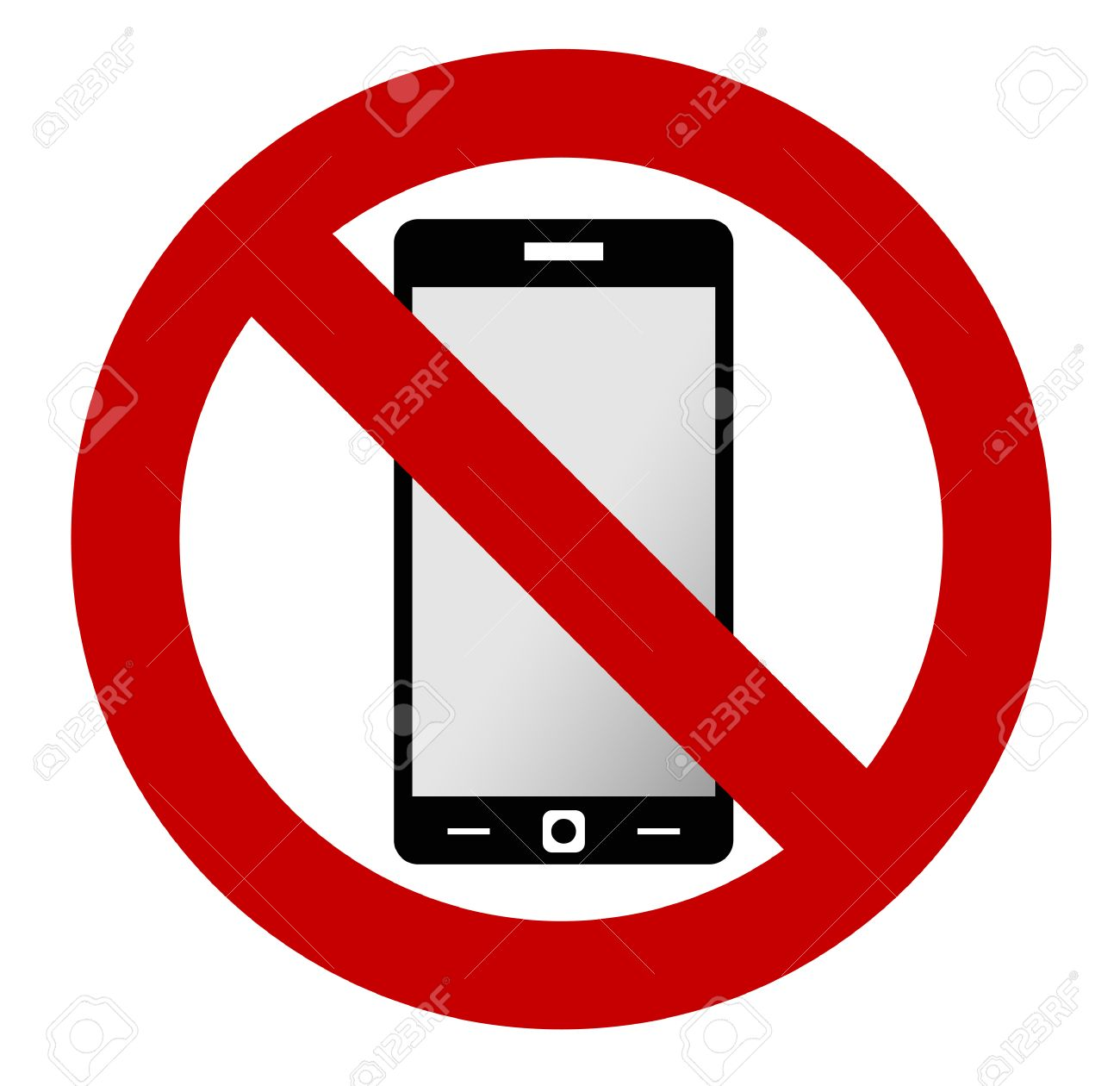 No mobile phone allowed sign. Turn off mobile phone. No cell...