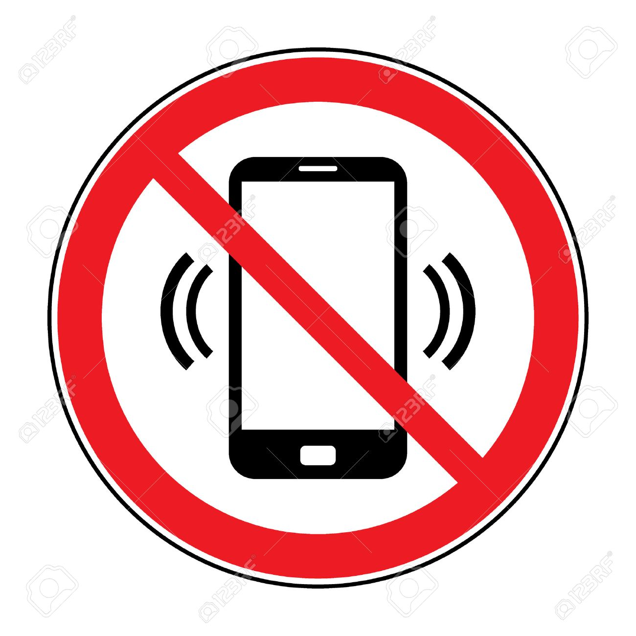 No cell phone sign. Mobile phone ringer volume mute sign. No...