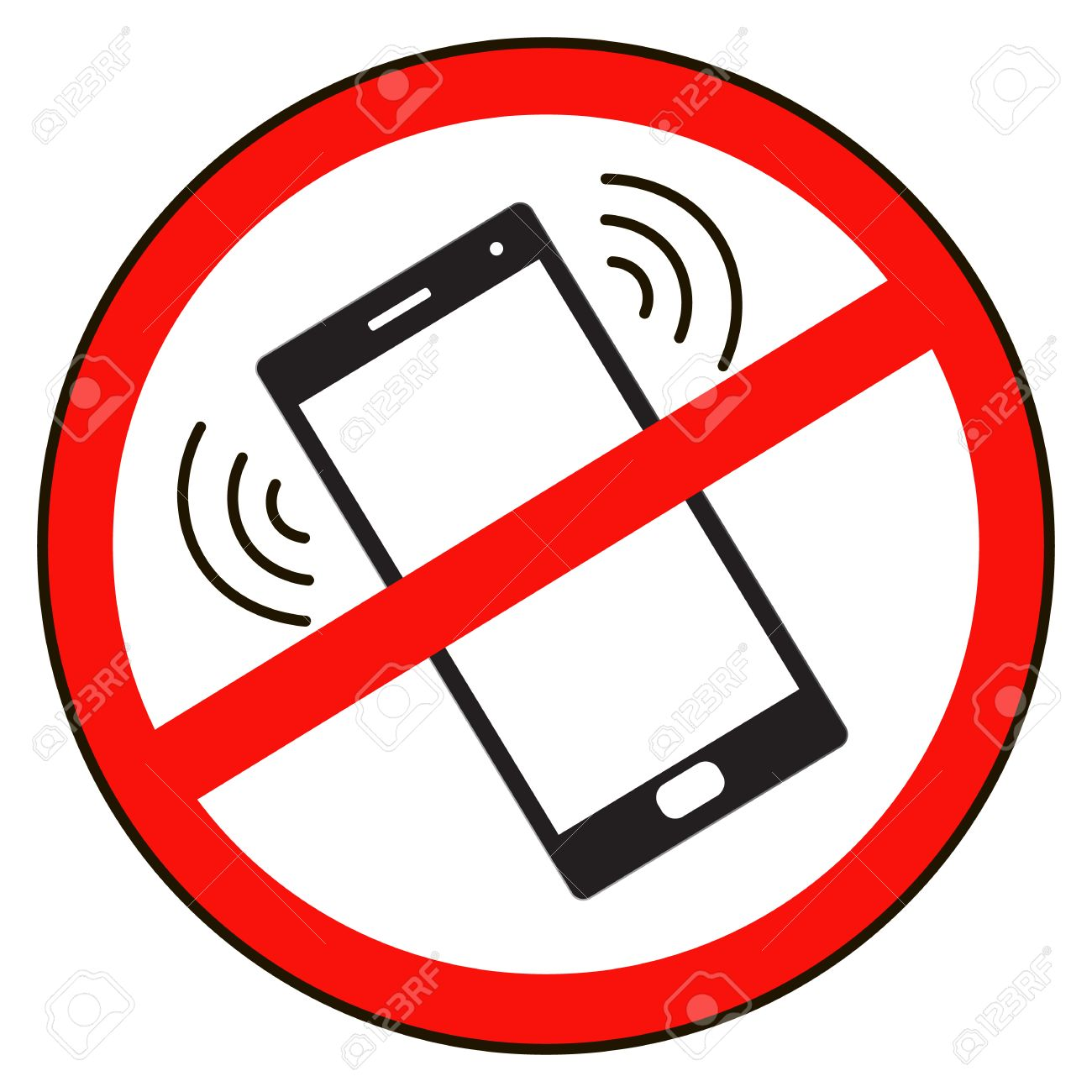 Mobile Phone prohibited. No cell phone sign isolated white background.