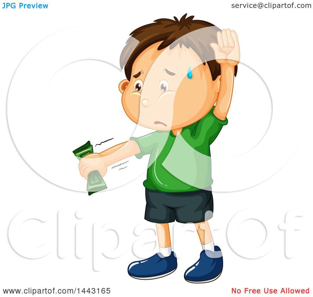 Clipart of a White Boy Raising His Hand and Holding Money.