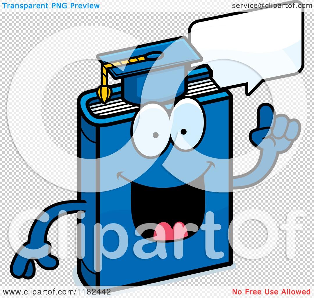 Cartoon of a Talking Blue Teacher Book Mascot.