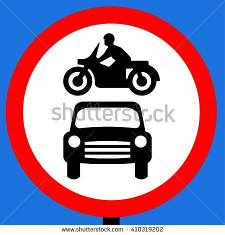 No Motor Vehicles Sign Vector Illustrator Stock Vector 298403687.