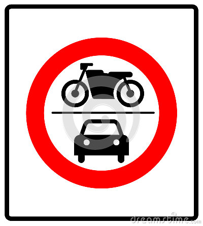 No Motor Vehicles Sign Stock Images.