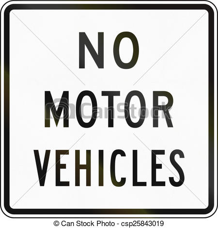Clipart of No Motor Vehicles.