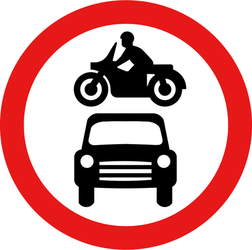 No motor vehicles vector road sign.