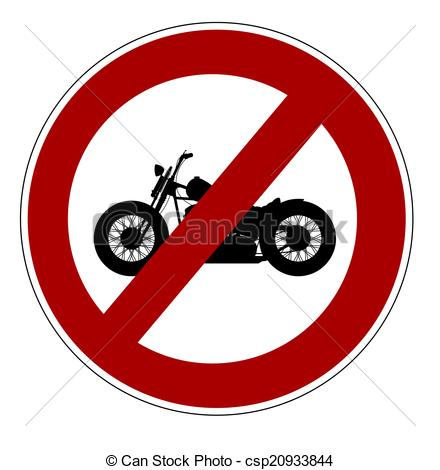 Drawing of No motorcycles allowed csp20933844.