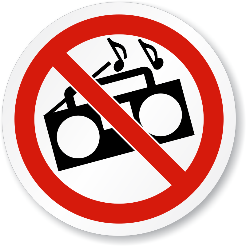 No Loud Music Symbol ISO Prohibition Circular Sign, SKU: IS.