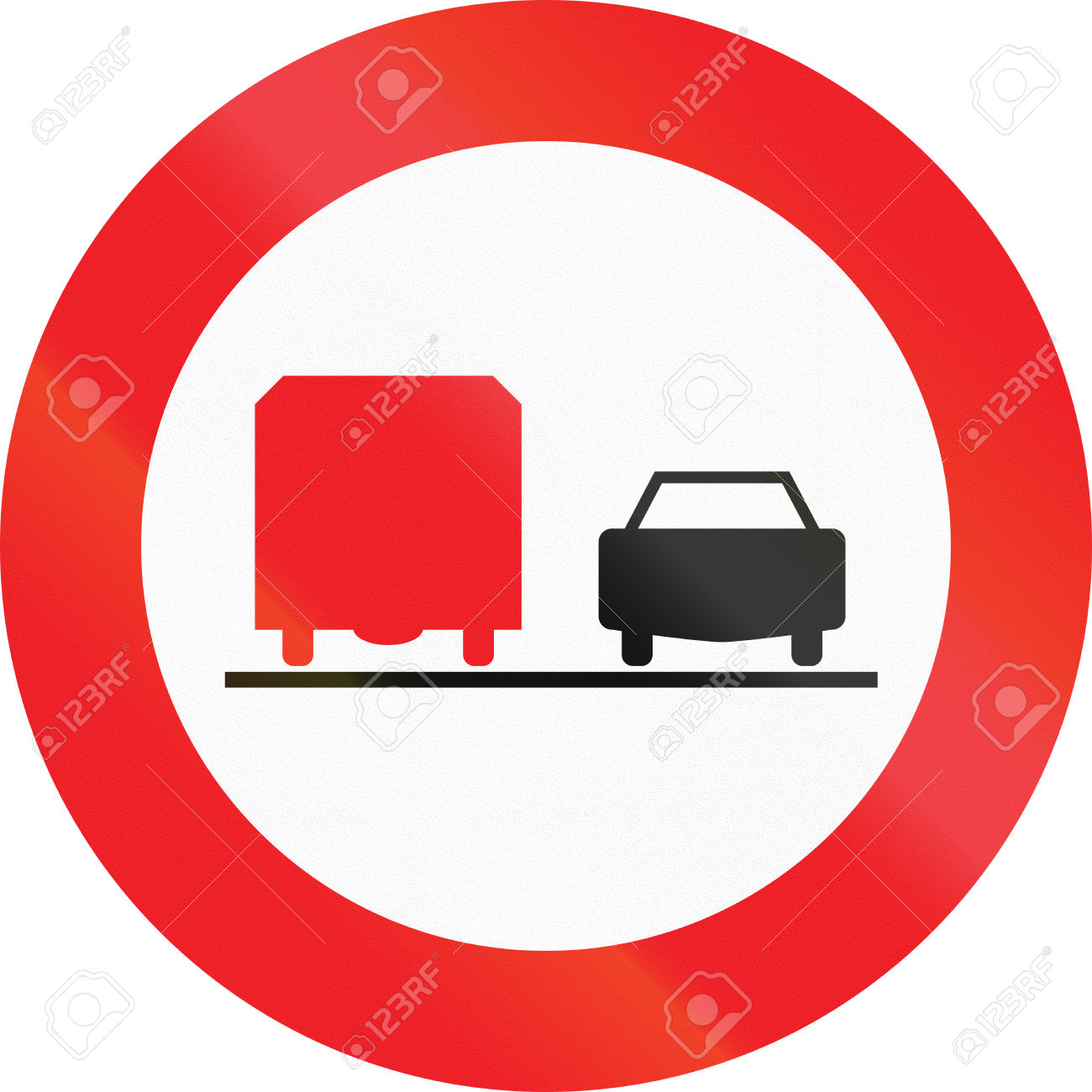 Austrian Traffic Sign: No Overtaking By Lorries! Stock Photo.