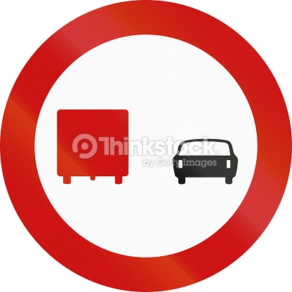 No Overtaking By Lorries In Greece Stock Photo.