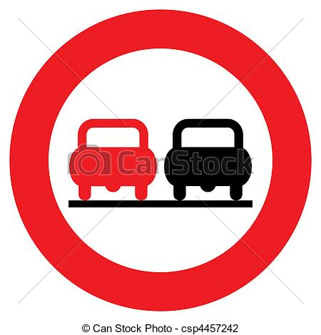 Clip Art of No overtaking sign.