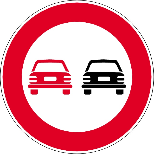 NO OVERTAKING VECTOR SIGN.